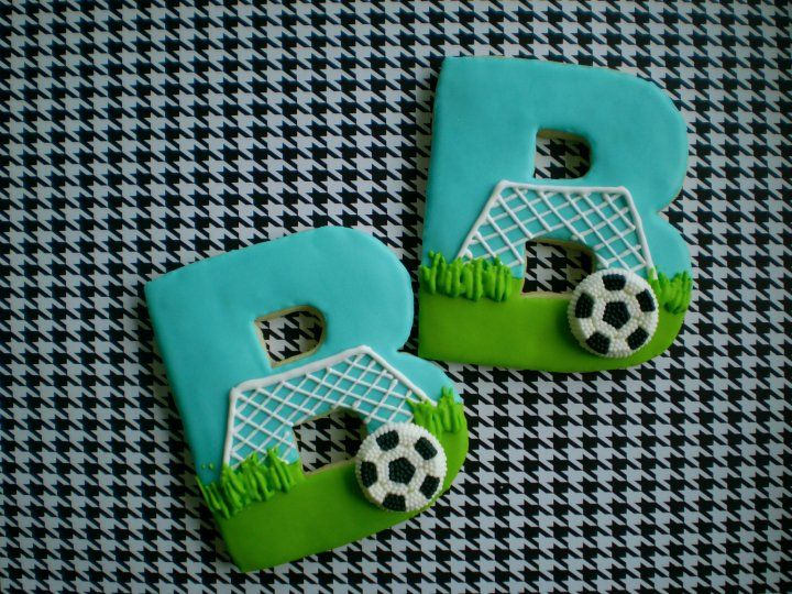 """""""B"""" Soccer cookies - someone should make these for me - he he"""