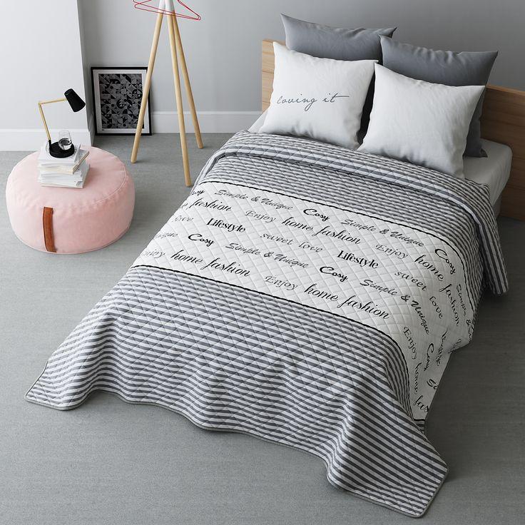 LIVE pikowana narzuta szara na łóżko małżeńskie