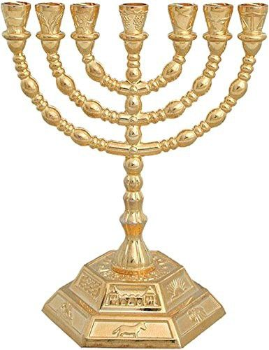 Jewish Candle sticks menorah - 7 branches - 12 tribes of Israel Menorah (Golden)