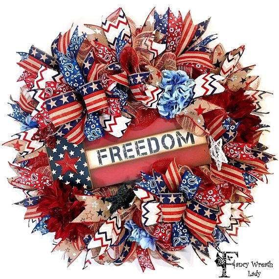 Freedom Flag 4th of July Burlap Mesh Wreath Patriotic Front #July4th