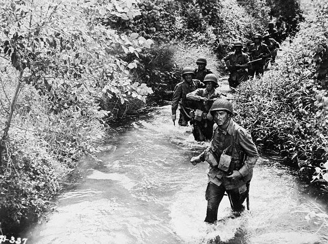 Caught behind Enemy Lines in Objective Burma starring Errol Flynn.