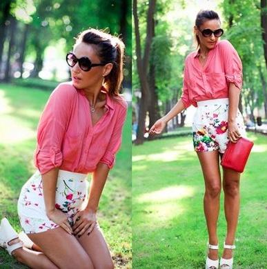 LOVE Label White Floral Hot Pants