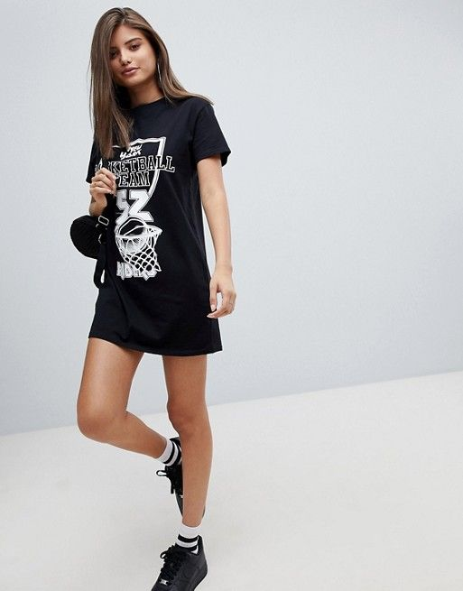 9b1f420c9f29 Missguided Basketball Slogan T-Shirt Dress | Asos | Slogan t shirt ...