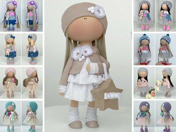 Handmade doll Stoffpuppe Poupée Tilda doll Fabric doll Textile doll Cloth doll Art doll Bambole Rag doll Puppen Muñecas Beige doll Yulia K
