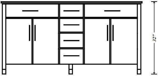 Standard Bathroom Vanity Height is 32″. Vanity countertop height ranges from 30″-36″.