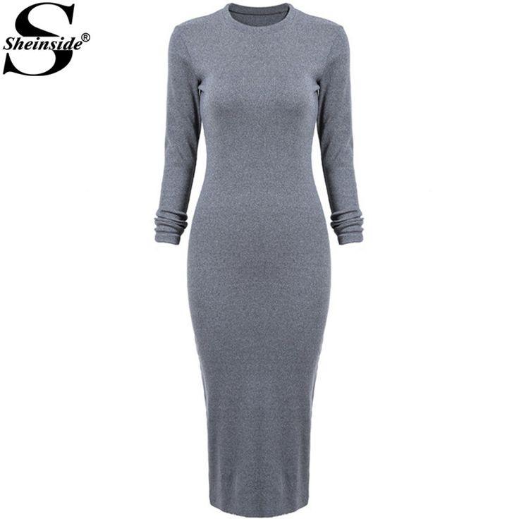 Korean Designer Casual Style Female Dresses Plain High Street Fashionable Long Sleeve Round Neck Dress