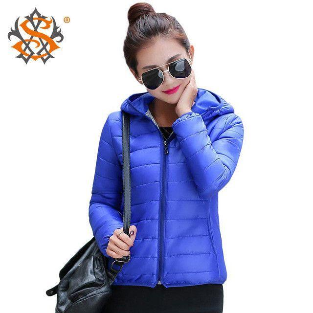 Solid Color Zipper Hooded Women Spring Jacket Winter Slim Warm Ladies Coats Outerwear http://www.braceletstyle.com