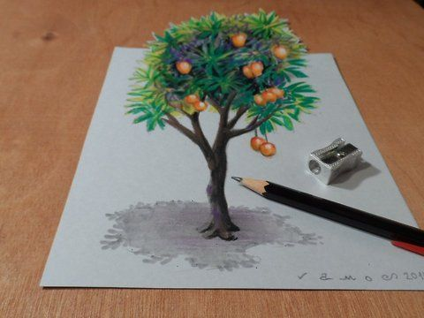 "How to Draw a mango tree. Trick art on paper. Artistic graphic.<br />Magic realism. Anamorphic Illusion. Mixed media.<br />Materials used: <br />Pastell paper: light gray.  <br />H graphit pencil (Derwent) <br />Grey markers: Letraset PROMARKER cool grey <br />Prismacolor colored pencil.<br />Black and white charcoal pencil.<br />Soft eraser.<br />Music: <br />Morning Mood (by Grieg) - Grieg<br />For sale: <a href=""http://vamosart.deviantart.com/gallery/"" target=""_blank""…"