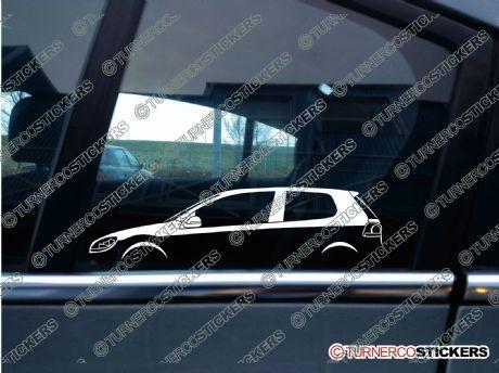 2x Car Silhouette sticker - VW Golf Mk6 GTi, GTD, TDi 3-DOOR