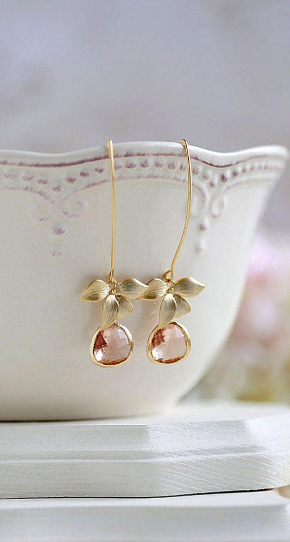 Matte Gold Orchid Flower Peach Champagne Glass Teardrop Long Dangle Earrings, Peach Champagne Wedding, Bridesmaid Earrings by LeChaim, https://www.etsy.com/shop/LeChaim