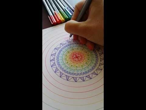 Mandala drawing Staedtler Triplus Fineliners - YouTube