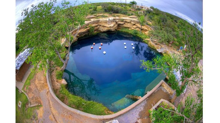 An aerial view of the Santa Rose Blue Hole in New Mexico, which was explored by cave divers from the Advanced Diver Magazine Exploration Foundation. (Photo credit Curt Bowen)