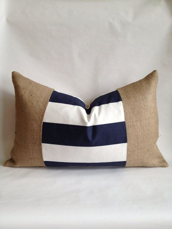 Sons' bedrooms - Navy and White Horizontal Stripe Fabric and by BouteilleChic, $32.00