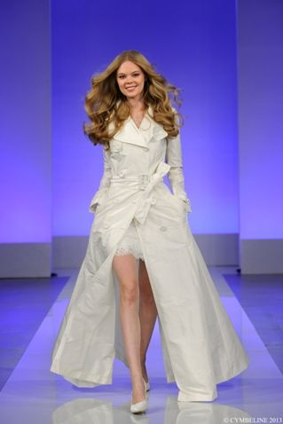 french bridal coat at French Wedding Style Blog. Now that is actually really pretty. Only the French can pull off a trench coat as a wedding dress!