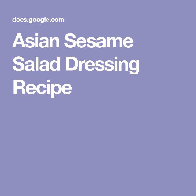 Asian Sesame Salad Dressing Recipe
