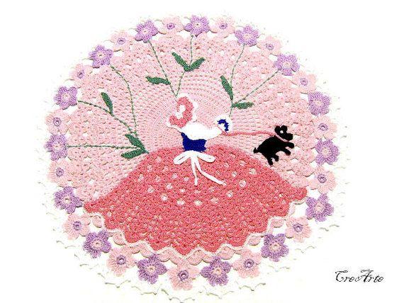 Original Doily with Pink Lady Crinoline Lady by CreArtebyPatty