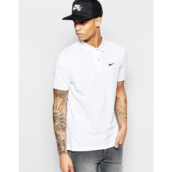 Nike Pique Polo Shirt With Swoosh Logo 727654-101 ($21) ❤ liked on Polyvore featuring men's fashion, men's clothing, men's shirts, men's polos, white, mens tall polo shirts, mens polo shirts, mens white polo shirt, mens pique polo shirts and nike mens shirts