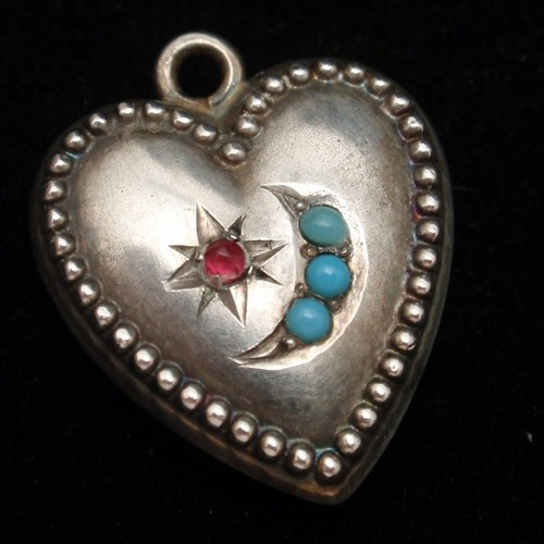 Puffy Heart Charm Vintage Sterling Silver Beaded Edge Star & Crescent | eBay