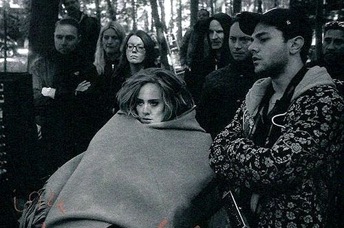 """Adele and Xavier Dolan on the set of """"Hello"""" music video"""