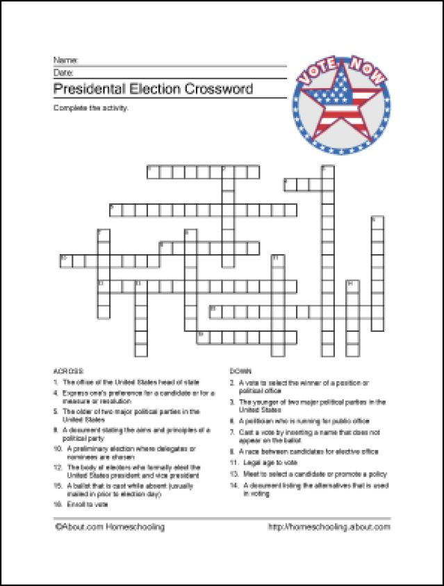 Presidential Election Printables: Presidential Election Crossword Puzzle