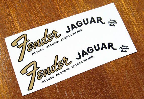 Fender Jaguar Headstock Decal Set Early Mid 60 S Waterslide Decals Vintage Guitar Parts Fender Jaguar Vintage Guitars Jaguar