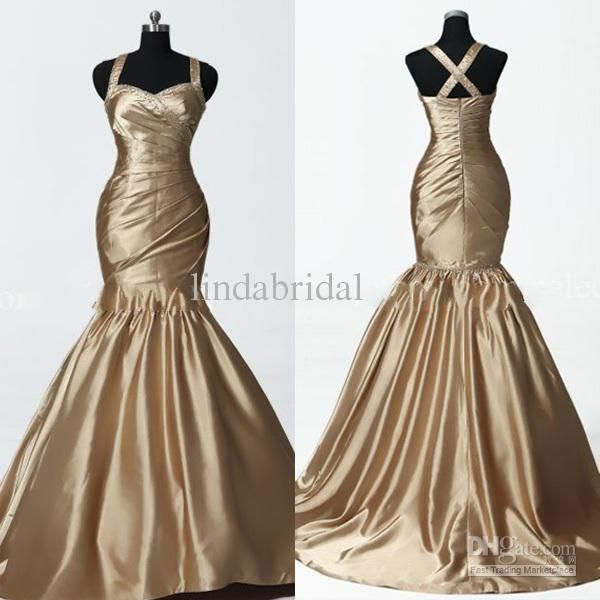 Wholesale Mermaid Gold Bronze Bridal Wedding Dress Beaded Prom Party Evening Dress Sz 2 4 6 8 10 12 14Custom, Free shipping, $110.88-154.56/Piece | DHgate