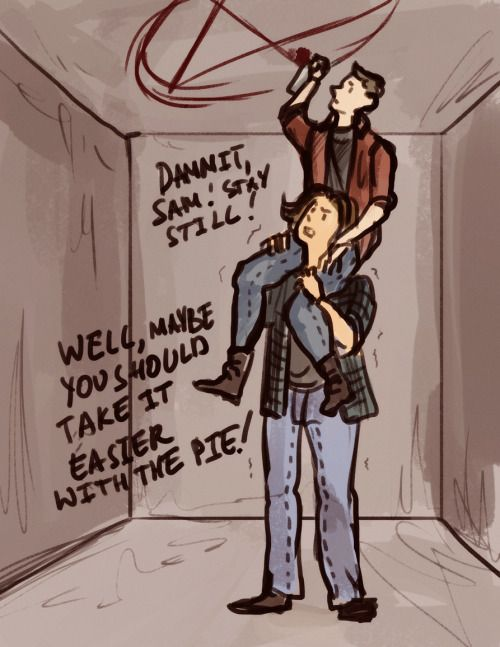 11x06 Our Little World inspired fanart - That's one way for the boys to get the demon traps on the ceilings. lol - Sam and Dean; Supernatural