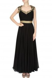 Black Floral Embroidered Pleated Evening Gown