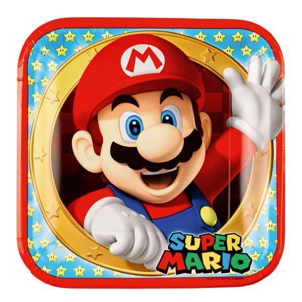 Platos para decoración de cumpleaños de Super Mario, a juego con todos los articulos de la misma colección.  #supermario #fiestasupermario #fiestamario #supermarioparty #decoracionfiesta #cumpleaños #invitaciones #fiesta #partydecorations