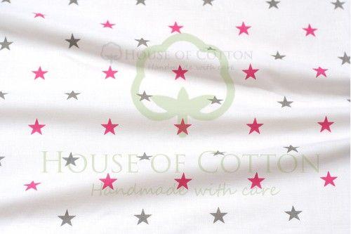 Bawełna szaro-amarantowe gwiazdki