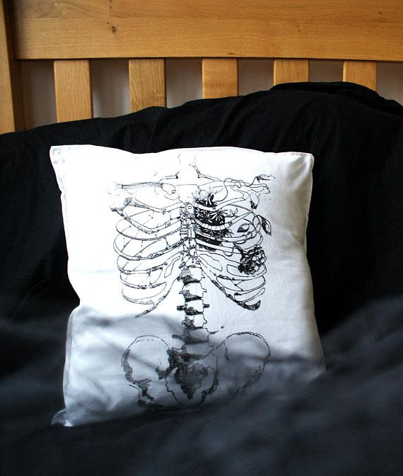 Gothic home decor Skeleton pillow Witch