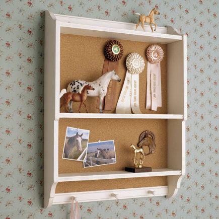 White Wooden Wall Shelf With Corkboard