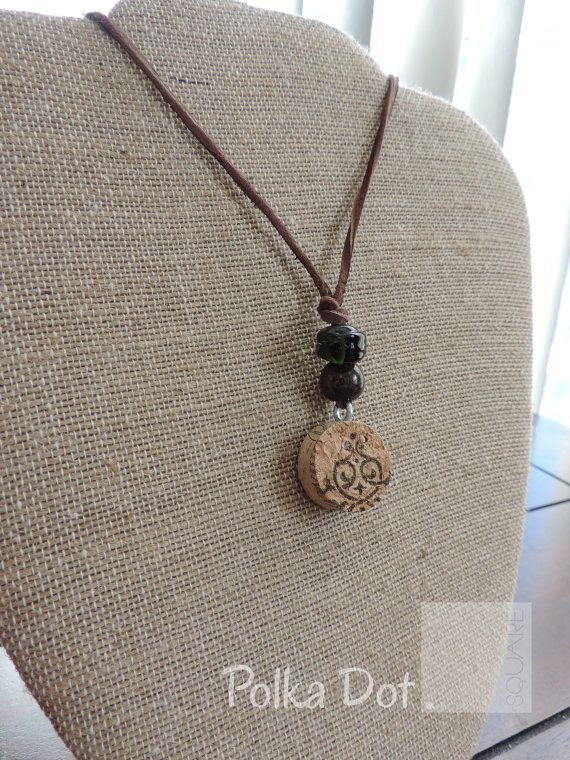 Wine cork necklace Statement jewelry by PolkaDotSquareDesign, $15.00
