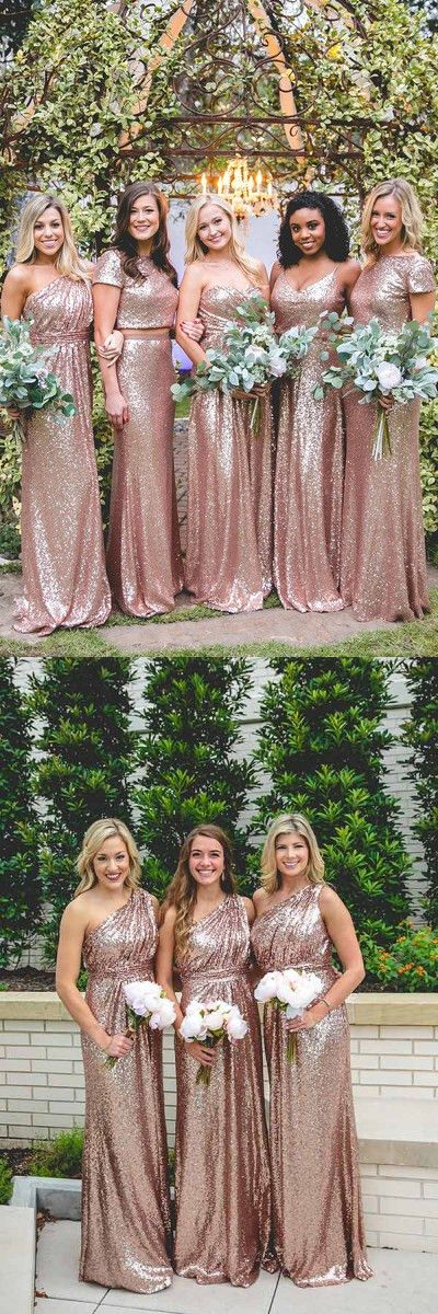 cheap bridesmaid dresses, sparkling wedding party dresses, elegant long party dresses, rose gold evening dresses