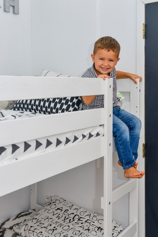 Black & White Modern Kids Shared Bedroom // IKEA MYDAL Bunk Bed