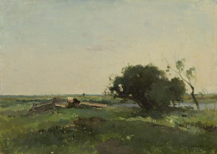 Aris Knikker (1887-1962) A Dutch meadow landscape with a windmill, oil on canvas laid down on panel. Collection Simonis & Buunk, The Netherlands.