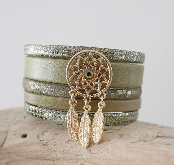 Bracelet manchette bohème chic en cuir kaki et doré (BR80) : Bracelet par samara-bijoux