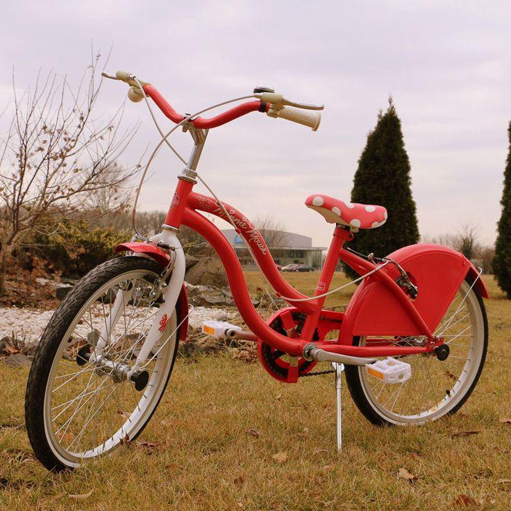 Bicicleta rosie Minnie Mouse pentru copii