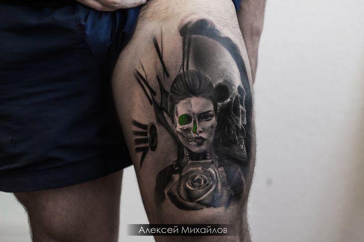 Найти эскиз татуировки девушка с розой и черепом в стиле реализм by melkayatattoodesign tattoo by Alexei Mikhailov tattooartist  #tattoos #tattooartist #melkayatattoodesign #tattoo #realismtattoo #skulltattoo