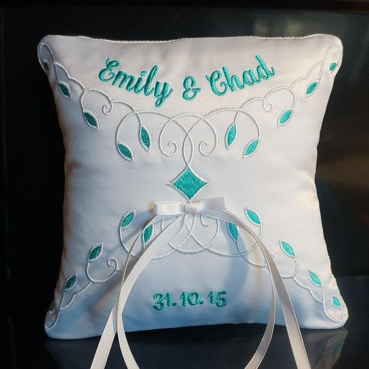 Personalized custom embroidered wedding rings pillow