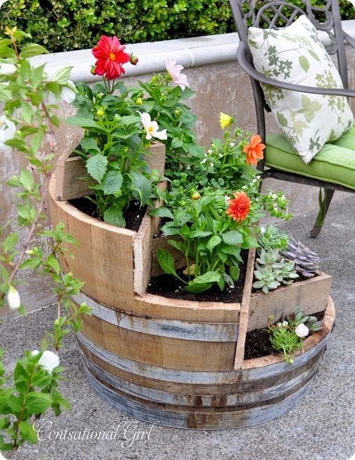 Imagenes Con Ideas Para Tu jardin De Flores Con Barricas de Vino