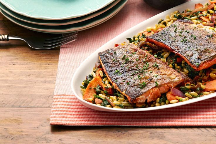 Paprika & Fennel-Spiced Salmon with Pan-Roasted Vegetables & Khorasan Wheat
