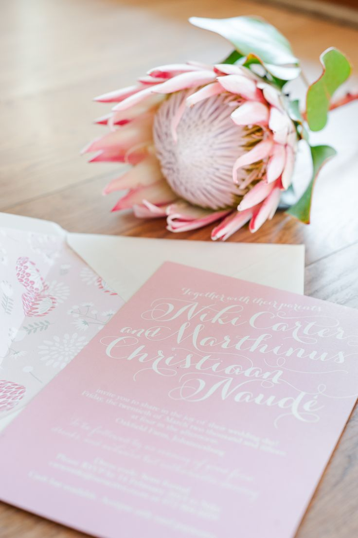 Pink protea themed wedding invitation www.creativeheroes.co.za