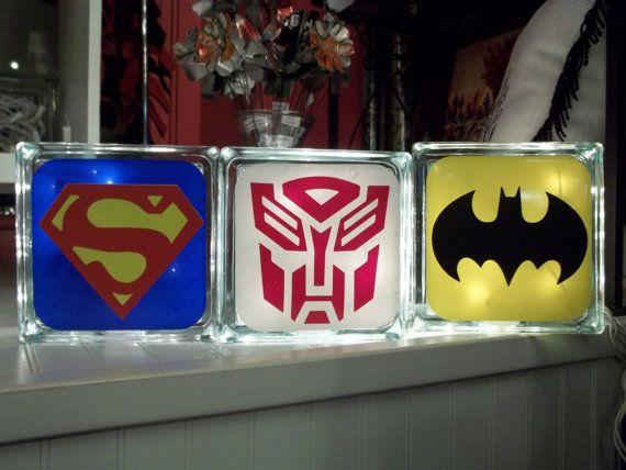 Superman Transformer Batman Glass Block Night by TheCraftyGeek86, $25.00