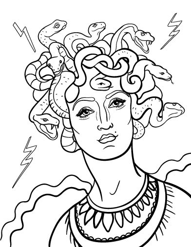 Printable medusa coloring page free pdf download at http for Medusa coloring pages