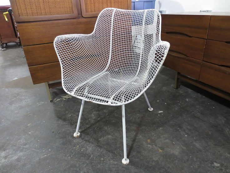 Details about russel woodard sculptura wire mesh patio for Mesh patio chairs