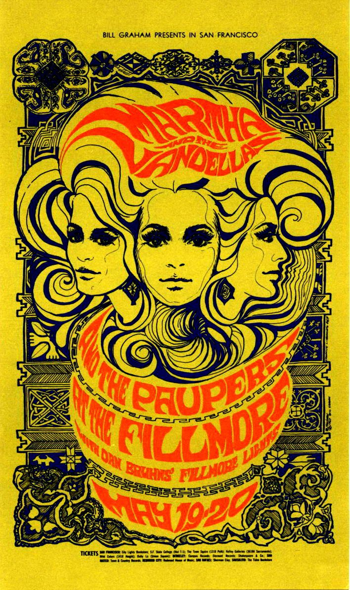 Martha and the Vandellas/The Paupers, May 19 & 20, 1967 Fillmore Auditorium - San Francisco classic rock psychedelic concert poster