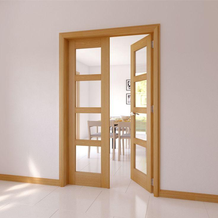 4 Lite Clear Glazed 4 Panel Shaker Internal French Door Set (H)2030mm (W)1230mm & Best 25+ Diy internal french doors ideas on Pinterest | Interior ... pezcame.com