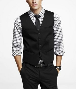 Cotton Sateen Suit Vest at Express