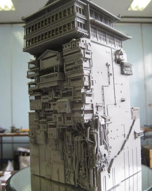 "Sculpture of ""Spirited Away"" bathhouse"